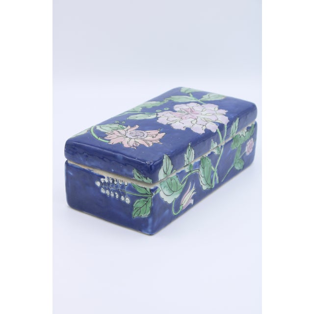 Antique Asian Ceramic Floral Peonies Jewelry Box For Sale - Image 4 of 13