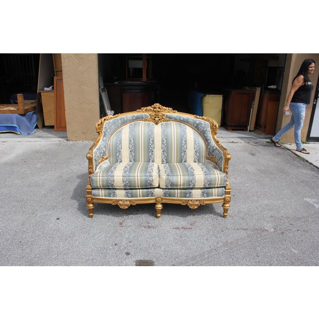 1940s Vintage French Louis XVI Style Giltwood Loveseat For Sale - Image 10 of 13