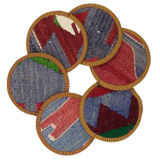 Rug & Relic Talih Kilim Coasters - Set of 6 For Sale