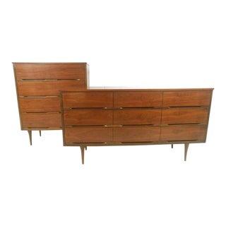 Pair of Mid-Century Modern Walnut Dressers For Sale