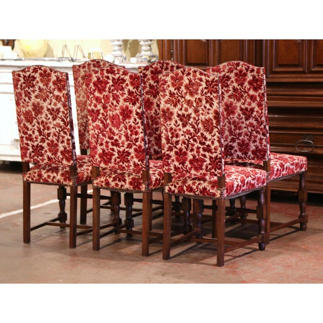 Red Early 20th Century French Louis XIII Carved Oak Walnut Dining Chairs-Set of Six For Sale - Image 8 of 9