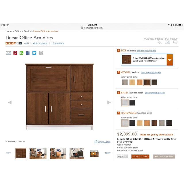 Room & Board Linear Walnut Office Armoire For Sale - Image 12 of 13