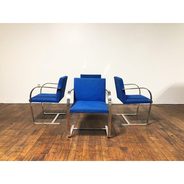 1970s 1970s Original Mies Van Der Rohe for Knoll Solid Steel Flat Bar Brno Dining Chairs - Set of 4 For Sale - Image 5 of 13