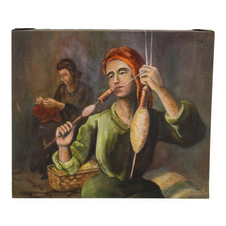 1960's Fine Art Oil Painting of Madonna Weaving, Oil Painting, For Sale