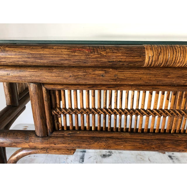 Asian Rattan Asian Style Coffee Table W/Glass 28x22x20.5h Excellent For Sale - Image 3 of 8