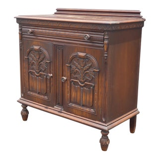 Vintage Spanish Style Sideboard Credenza ~ Entry Table Ornately Carved Solid Wood Chest For Sale