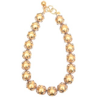 Vintage Anne Klein Gold Ball/ Silver Loop Necklace For Sale