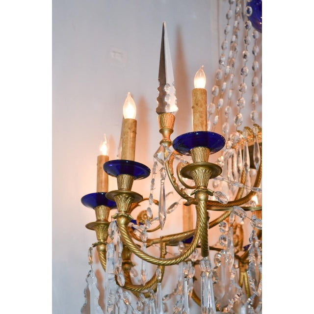 Late 19th Century 19th Century Pair of Russian Bronze, Crystal, and Cobalt Chandeliers For Sale - Image 5 of 9