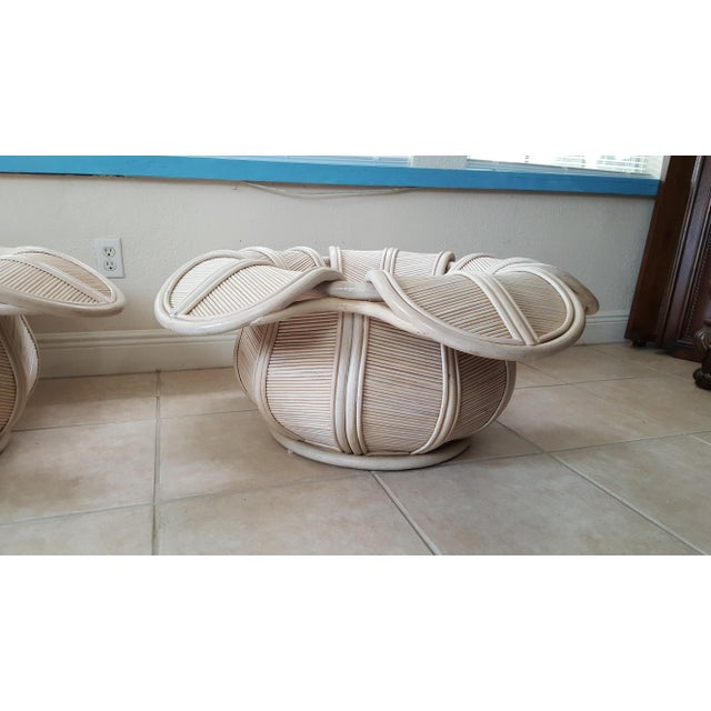 Tan 1970s Hollywood Regency Rattan Pencil Reed Bell Flower Coffee Tables - a Pair For Sale - Image 8 of 11