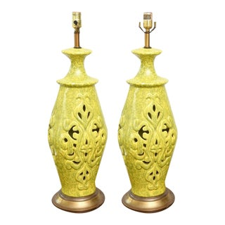Pair of Vintage Ceramic Lamps, Usa 1960s For Sale