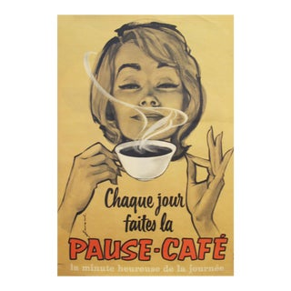 1950's Vintage French Coffee Poster - Pause Café For Sale
