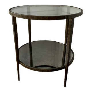 Crate and Barrel Glass Top and Mirrored Shelf Side Table For Sale