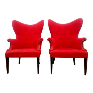 Antique Mid-Century Modern Red High Wingback Chairs - a Pair For Sale