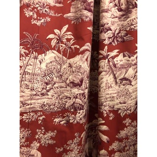 Pair of Manuel Canovas Red & Purple Bengale Toile Grand Curtains Drapes Drapery For Sale