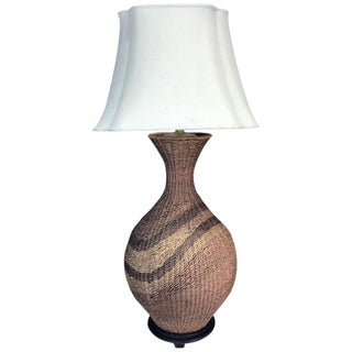 Huge Mod Polychromed Rattan Patterned Lamp For Sale