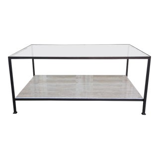 Custom-Made Marcelo Coffee Table With Clear Glass Top For Sale