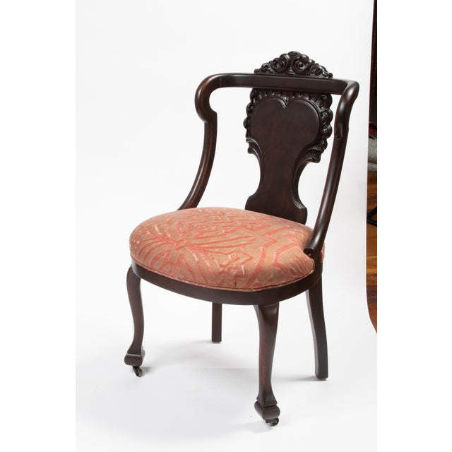 Traditional Mahogany Antique Chairs in Fortuny Fabric For Sale - Image 3 of 9