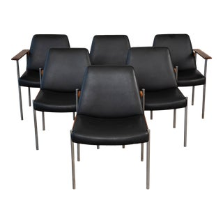 Set of Six Teak and Leather Dining Chairs by Sven Ivar Dysthe For Sale