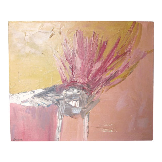 1970s Vintage Suzanne Peters Abstract Untitled Bird Painting For Sale