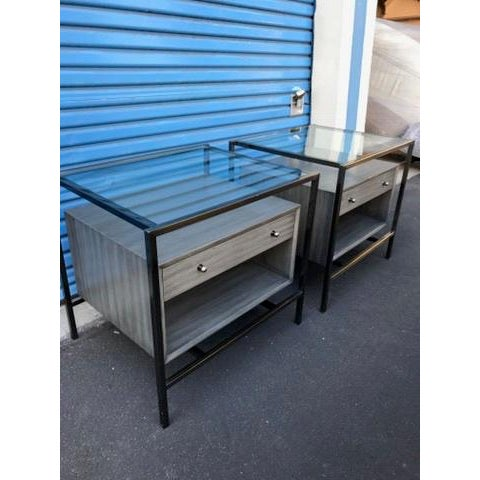 Michael Weiss Grey and Glass Nightstands - a Pair For Sale In San Francisco - Image 6 of 11