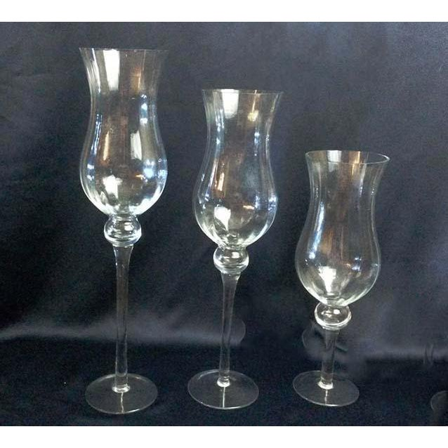 Very Tall Glass Bell Shape Stemware Vases Set Of 3 Chairish