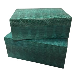 Turquoise Sea Snake Skin Nesting Boxes - a Pair For Sale