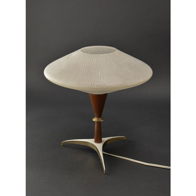 Gold Mid-Century Design Decorative Atomic Tripod Teak Brass Glass Table Lamp by Phillips, 1950s For Sale - Image 8 of 8