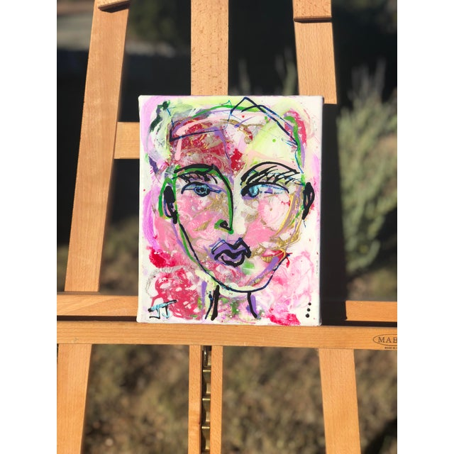 A petite painting by JJ Justice. Modern painting created with ink, acrylic, and resin on professional canvas. Pink, green...