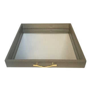 Medium Animal Print Embossed Mirror Tray For Sale