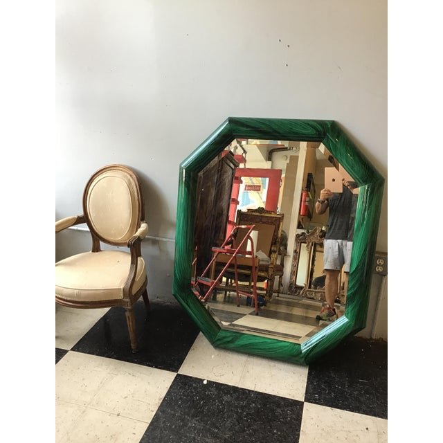 1970s Large Pair of Italian 1970s Faux Malachite Beveled Mirrors For Sale - Image 5 of 13