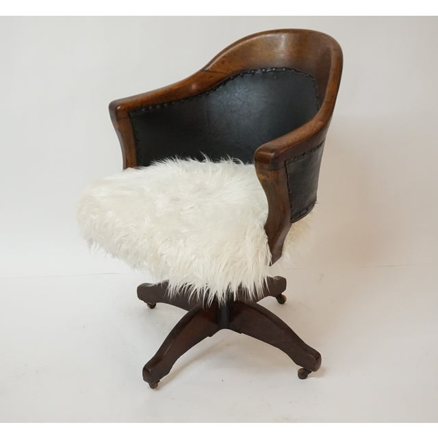 Antique Oak Bankers Swivel Chair With Mongolian Fur - Image 6 of 7