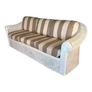 Vintage Sculptural White Wicker Sofa For Sale