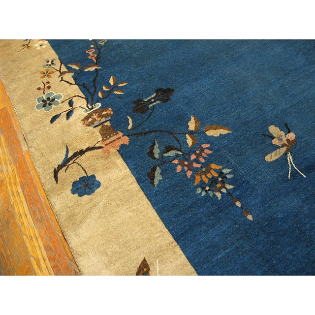 "Blue 1920s Chinese Art Deco Rug - 9'x11'10"" For Sale - Image 8 of 9"