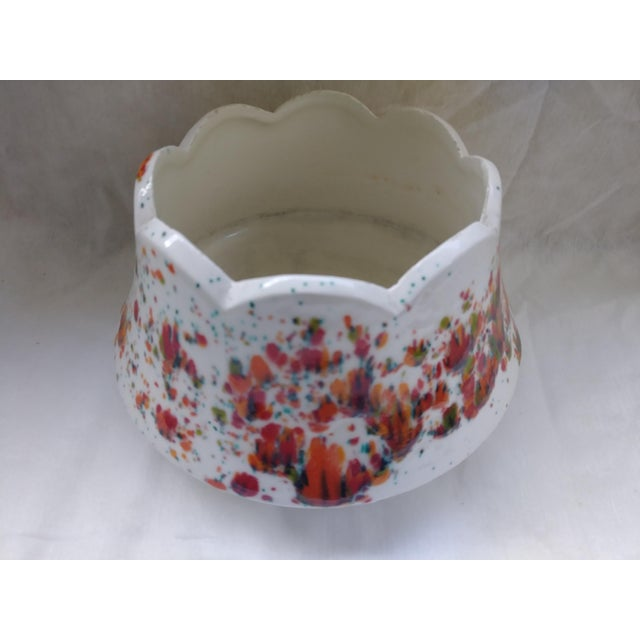 Mid-Century Modern Vintage White Speckled Decorative Bowl or Planter For Sale - Image 3 of 6