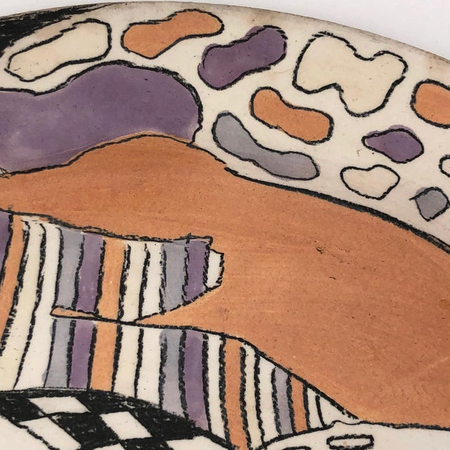 Various Artists Late 20th Century Vintage Abstract Hand-Painted Decorative Ceramic Platter For Sale - Image 4 of 10