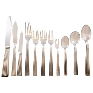 Tiber by Buccellati Sterling Silver Flatware Set for 12 Service 132 Pcs Dinner For Sale