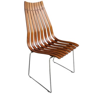 Scandinavian Modern Rosewood Slatted Norwegian Chair by Hans Brattrud for Hove Mobler For Sale