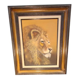 Framed Lion Painting by Cutrona For Sale