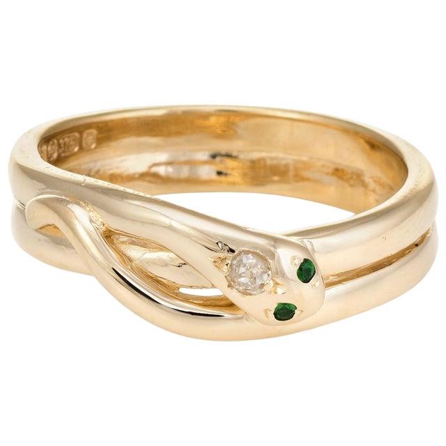 Vintage Snake Ring 9 Karat Yellow Gold Diamond Emerald Alternative Wedding Band For Sale