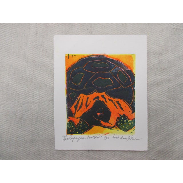 2000 - 2009 Vintage Lithograph Galapagos Tortoises Signed by Ann Zahn For Sale - Image 5 of 5