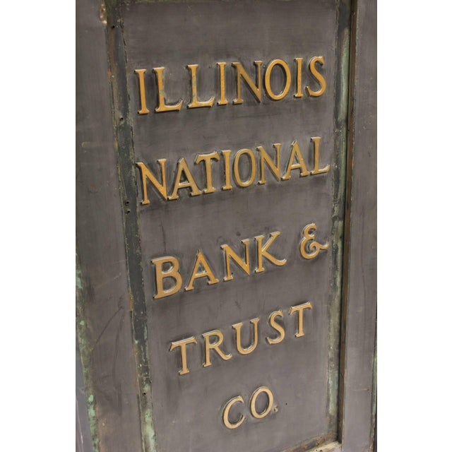 """Early 20th C. Antique """"Illinois National Bank & Trust Co."""" Brass Sign For Sale - Image 4 of 5"""