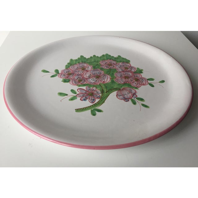 "Italian Faience Geraniums Platter-13"" For Sale - Image 4 of 7"