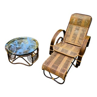 Vintage Mid Century Modern Franco Albini Lounge Chair & Side Table For Sale