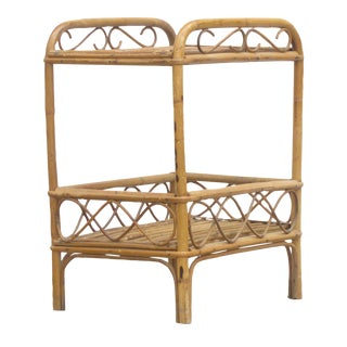 Vintage Bamboo / Rattan Side Table w/ Shelf
