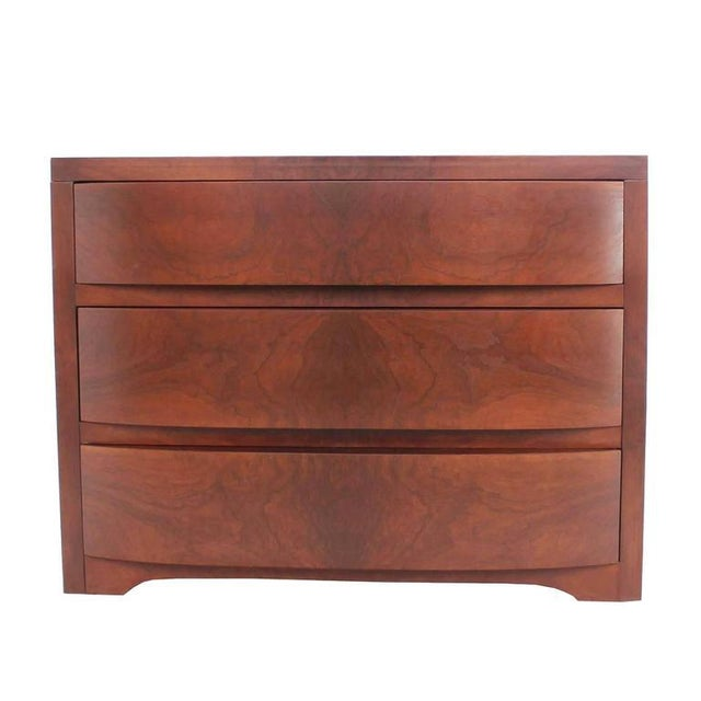 Mid 20th Century Three Drawers Sculptured Bow Front Burl Wood Dresser Burl Wood For Sale - Image 5 of 8