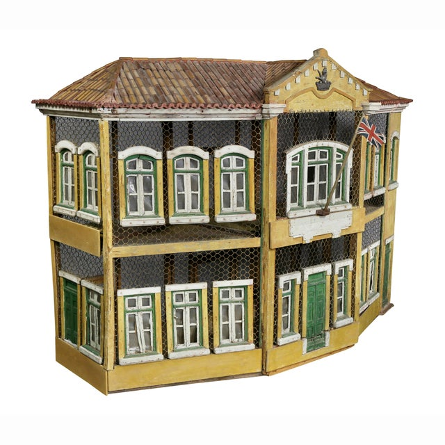 19th Century Early Victorian Era Painted Birdcage. Representing a Georgian manor house.