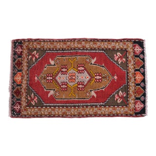 Distressed Low Pile Rug Turkish Yastik Petite Rug Natural Colors Mat - 18'' X 30'' For Sale