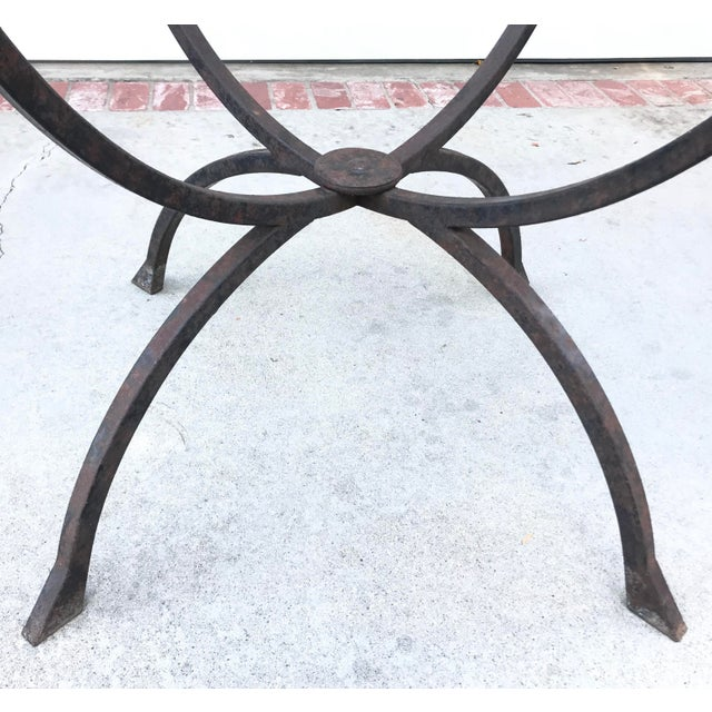 Industrial Sculptural Iron & Glass Table For Sale - Image 3 of 6