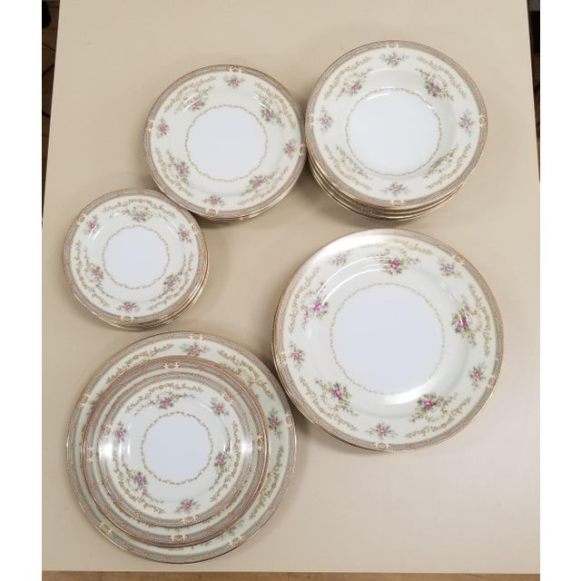 Metal 1940s Noritake Eire Pattern Fine China - Set of 24 For Sale - Image 7 of 7