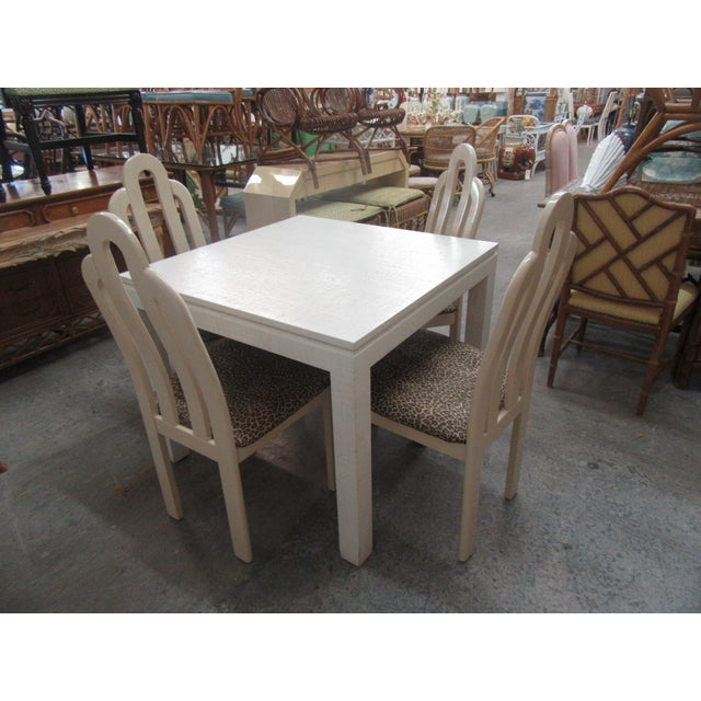 Italian Linen Wrapped Game Table Set - 5 Pieces For Sale In West Palm - Image 6 of 6